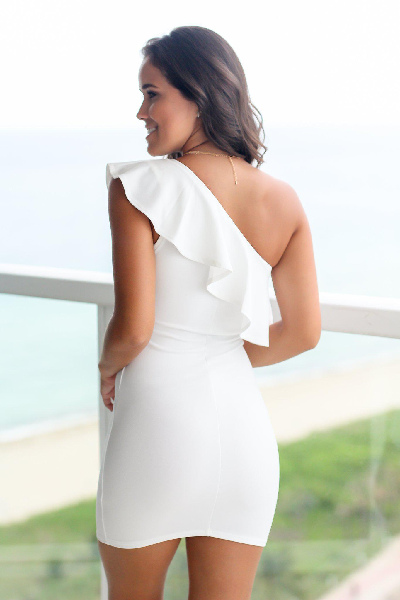Off White One Shoulder Short Dress