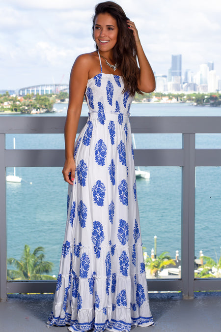 Off White Printed Halter Neck Maxi Dress