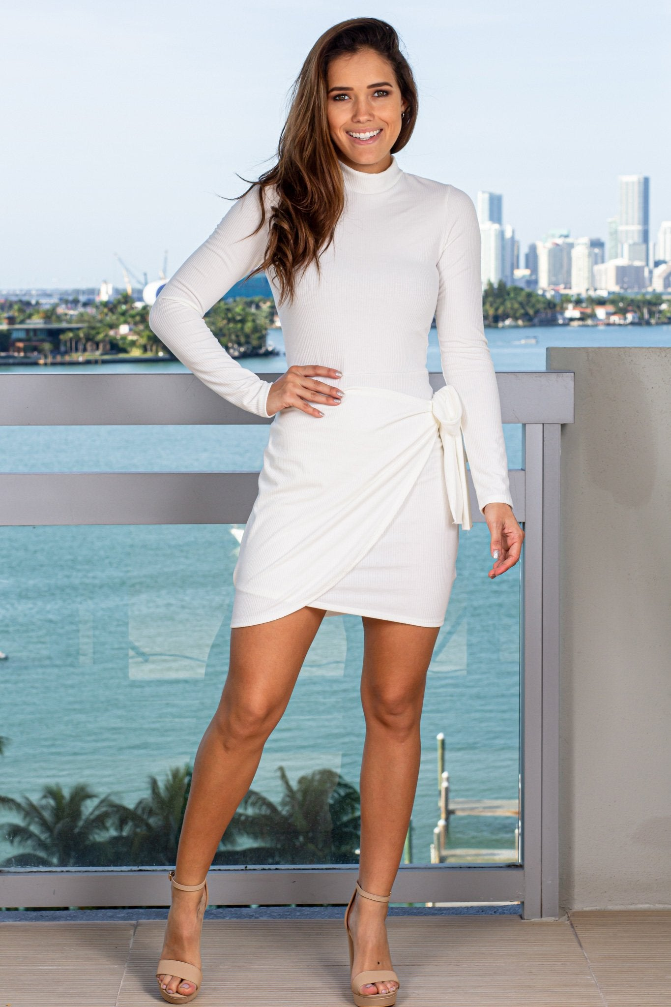 Off White Ribbed Short Dress with Wrap Skirt