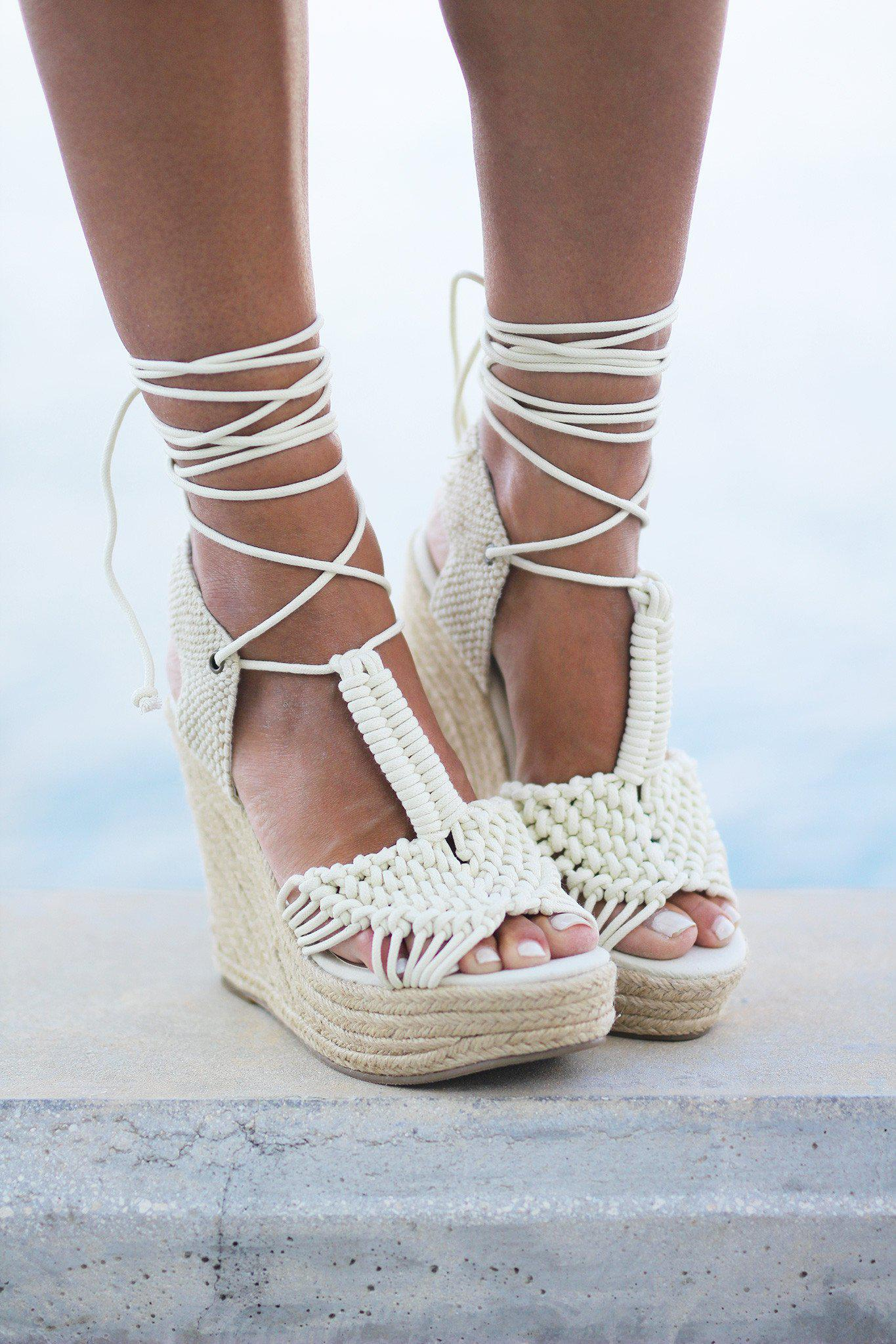 Off White Rope Wedges