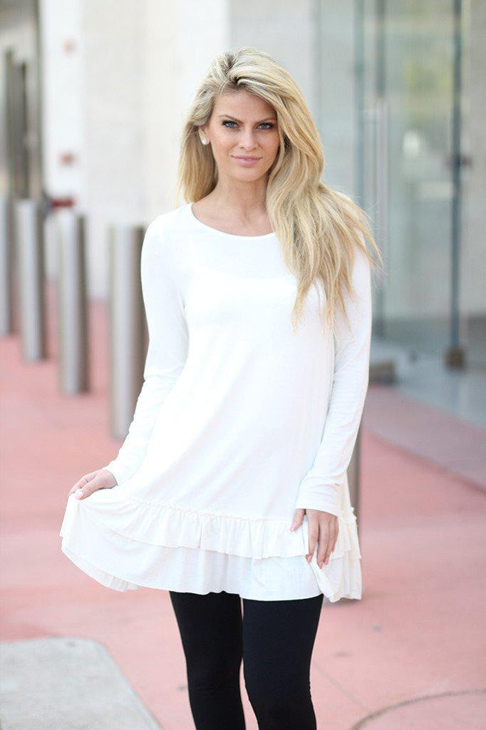 off white ruffled tunic