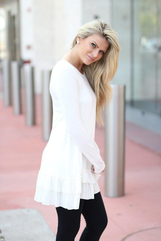 ruffled off white tunic