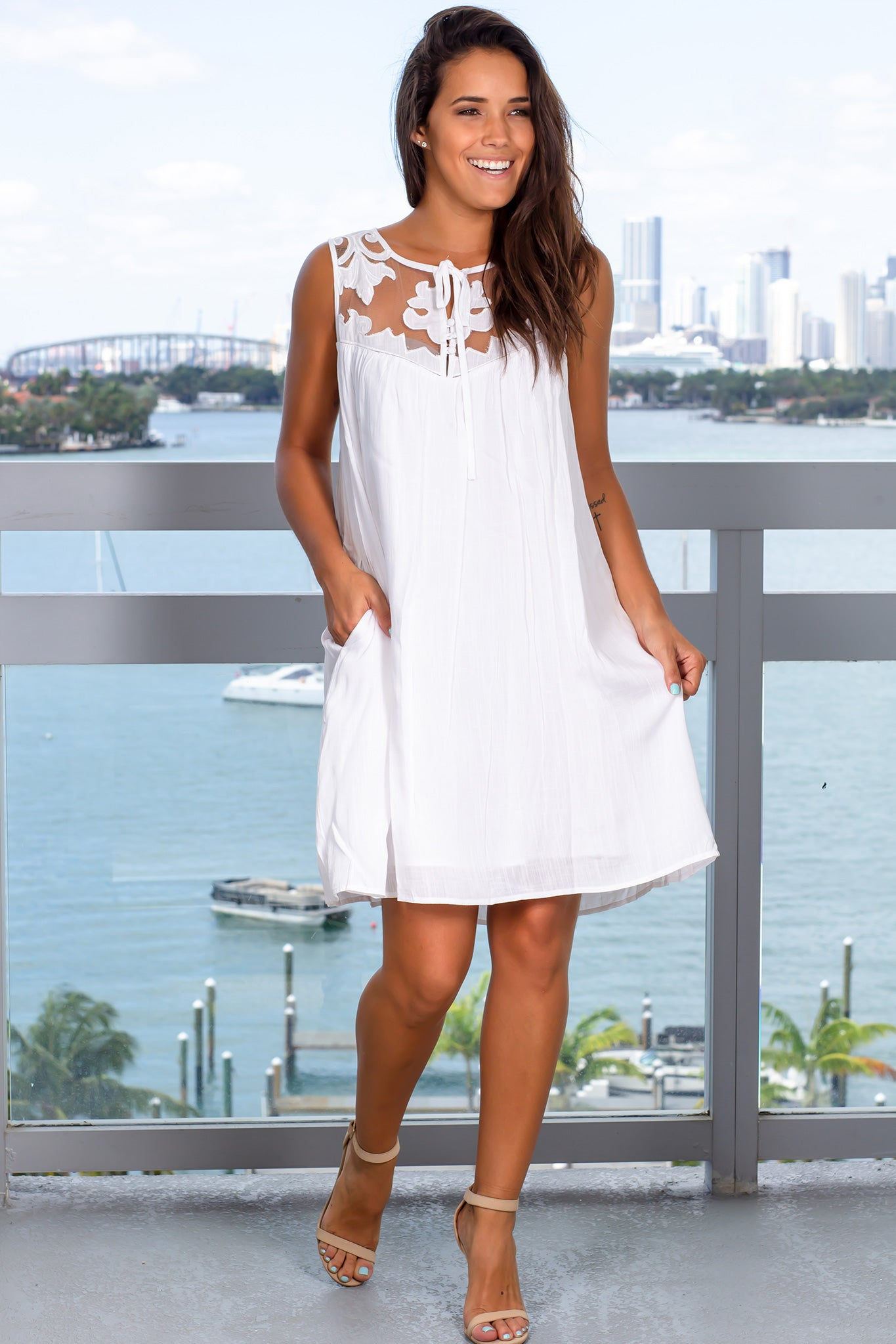 Off White Short Dress with Mesh Detail