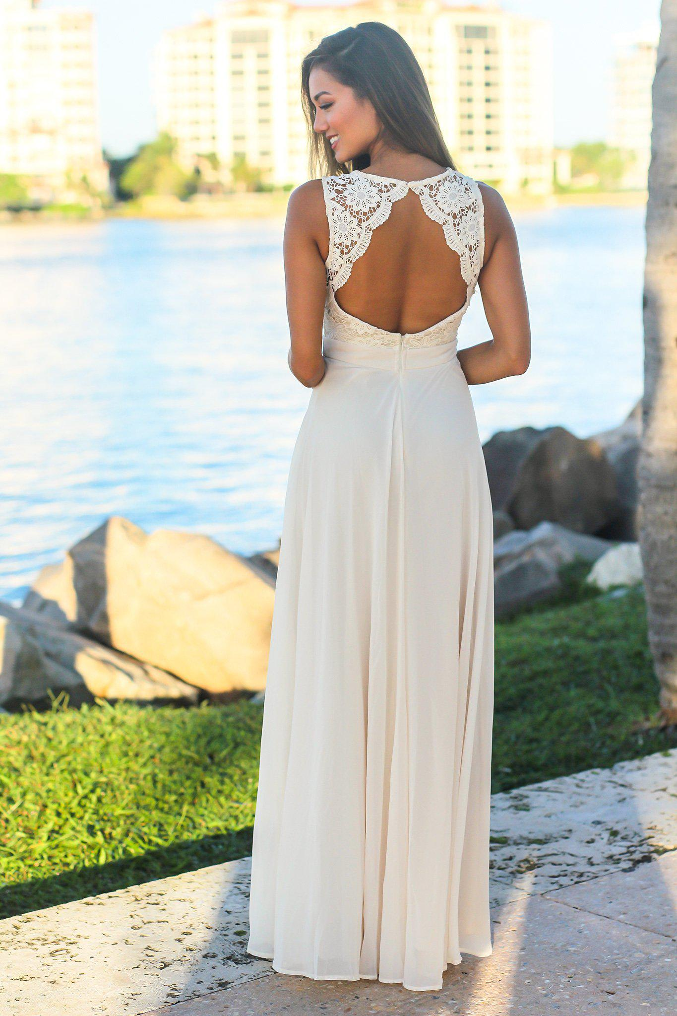 Off White Sleeveless Maxi Dress with Crochet Top