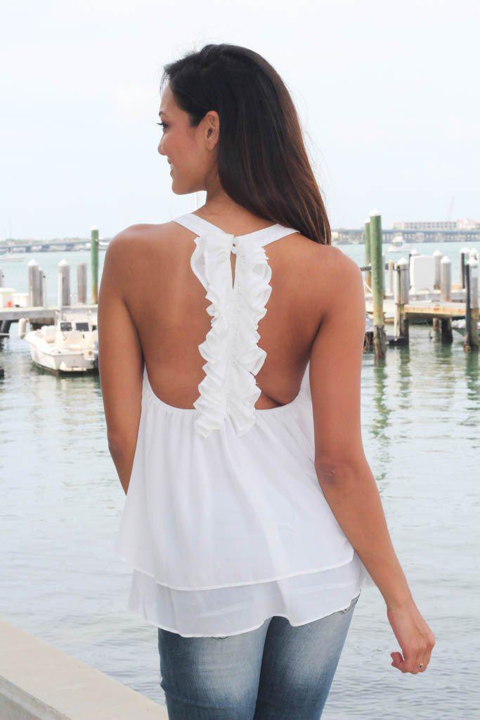 Off White Top With Ruffle Racerback