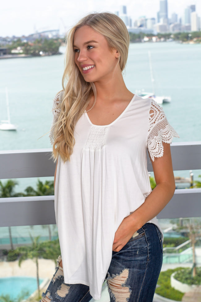 Off White Top with Crochet Short Sleeves