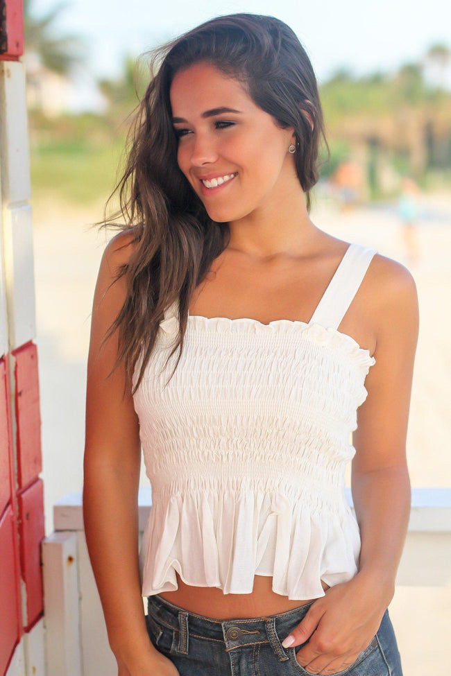 Off White Top with Ruffled Bottom