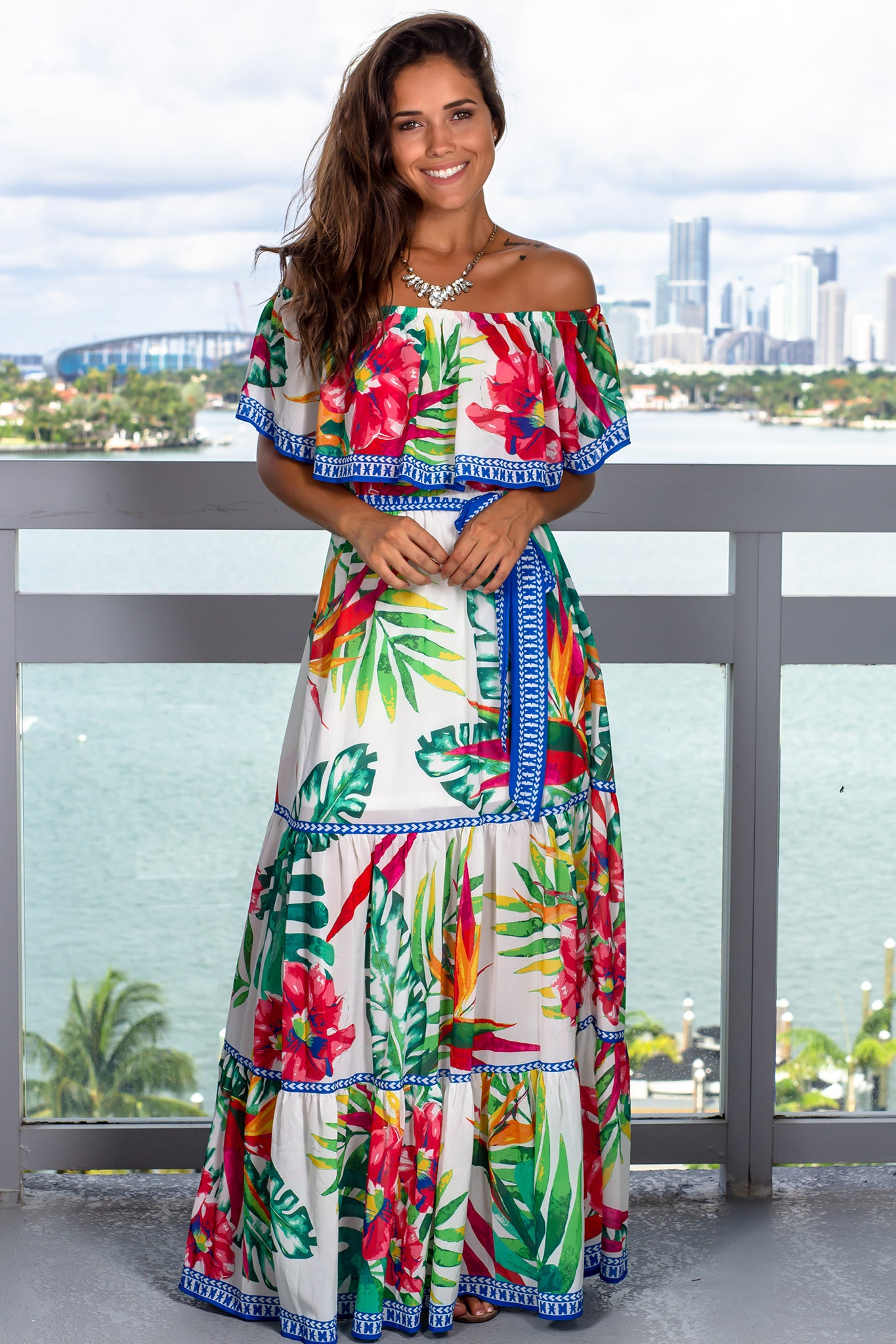 Off White Tropical Printed Maxi Dress
