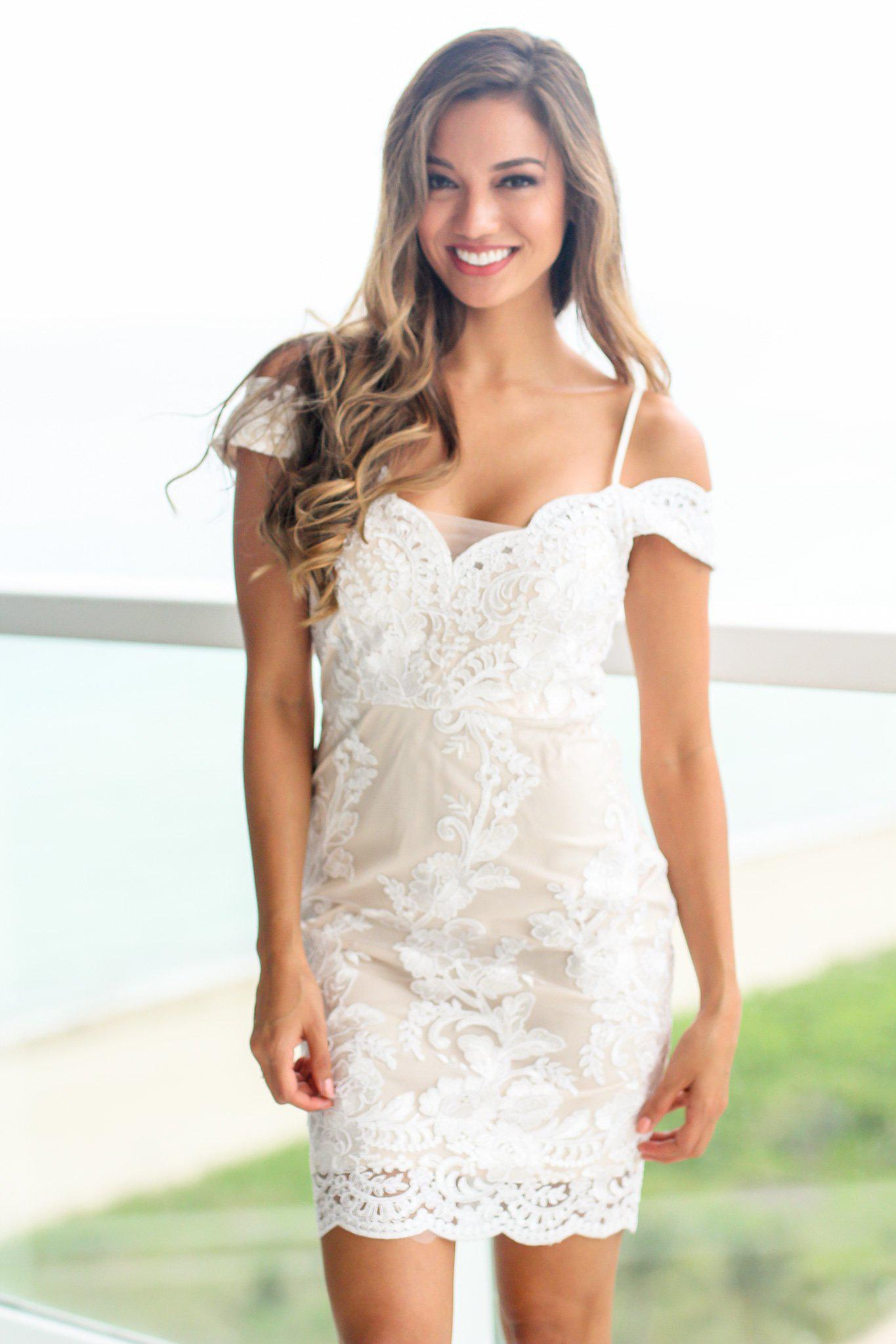 Off White and Nude Off Shoulder Embroidered Short Dress