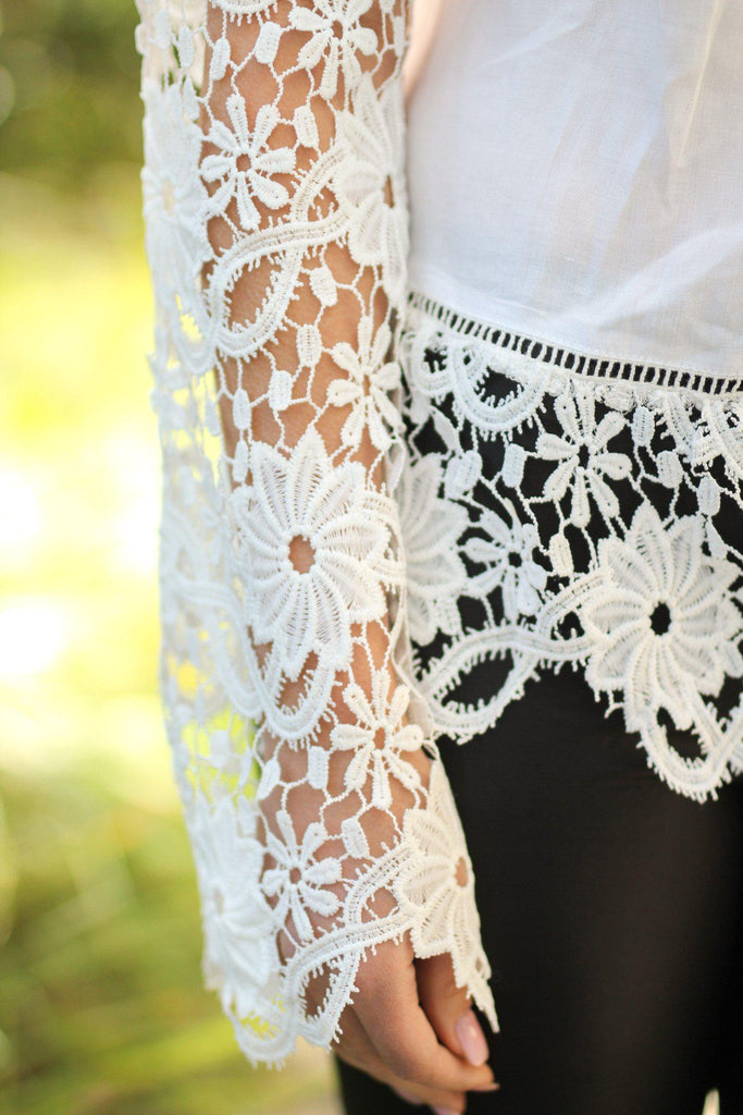 top with beautiful crochet details