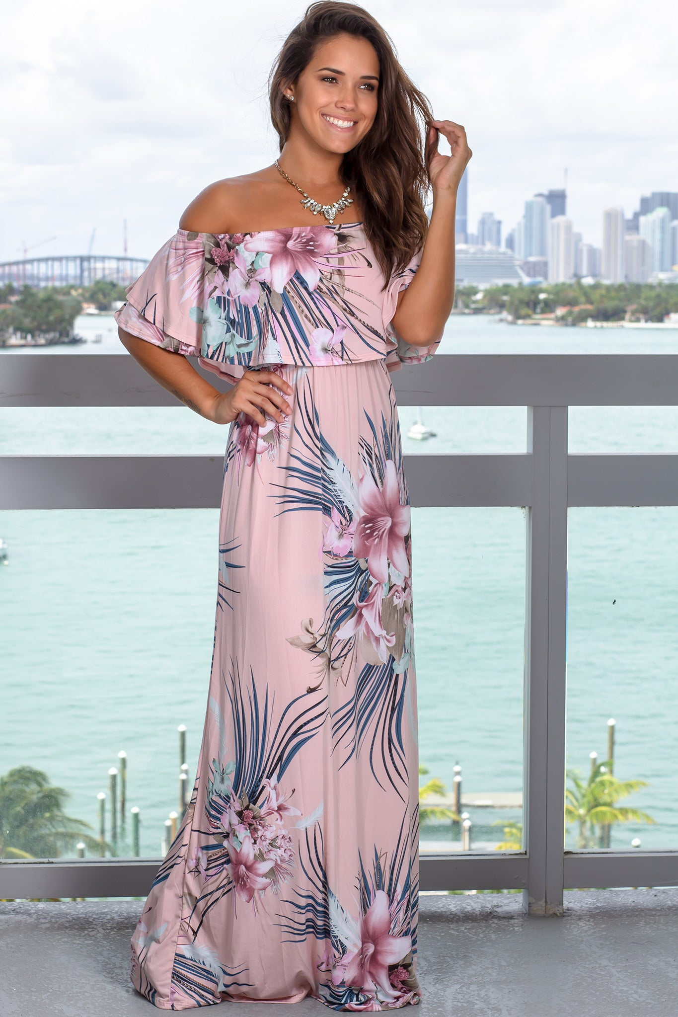 c766887d Dusty Pink Floral Off Shoulder Ruffle Top Maxi Dress | Cute Dress ...