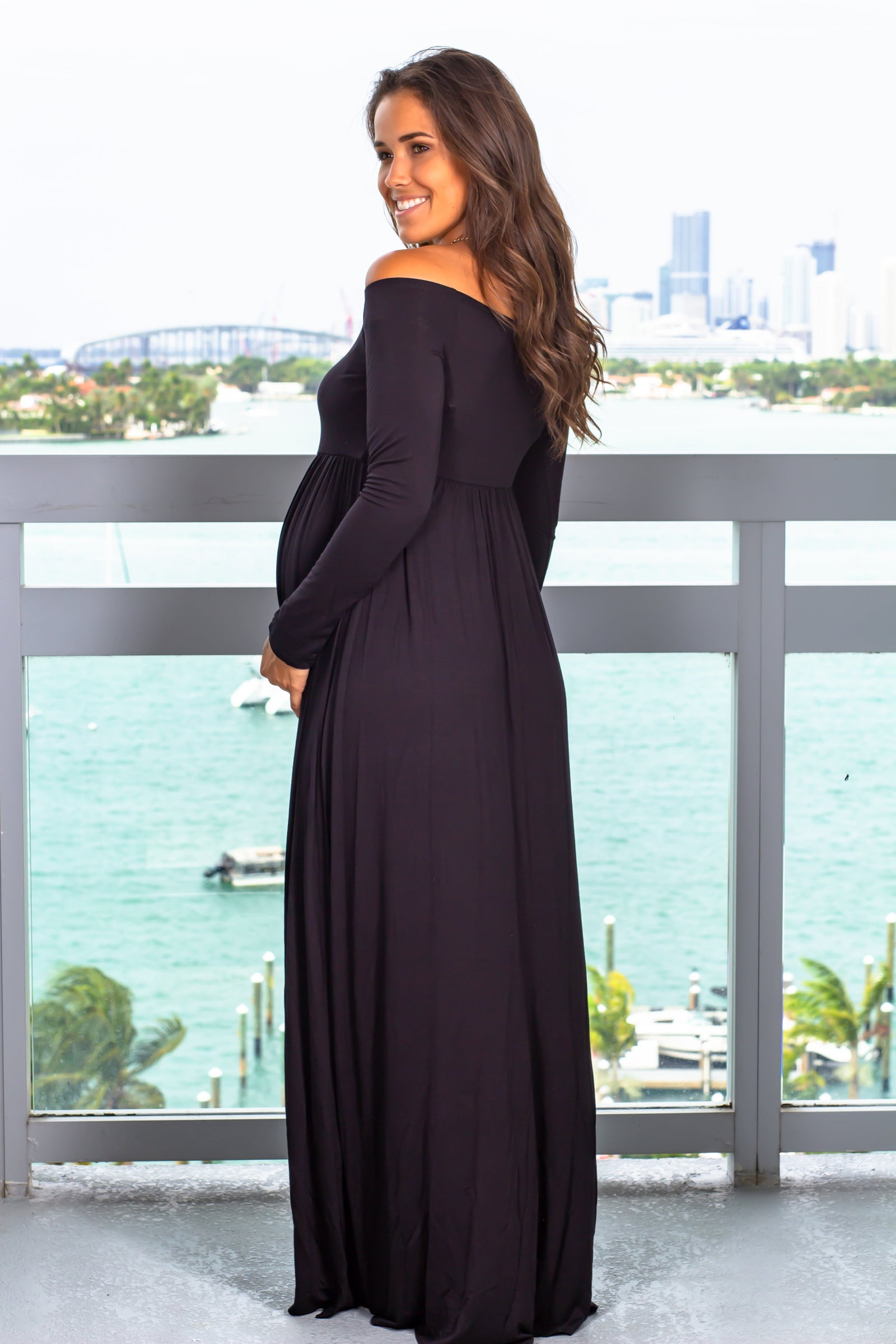Black Off Shoulder Maternity Maxi Dress