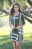 olive short dress with 3/4 sleeves
