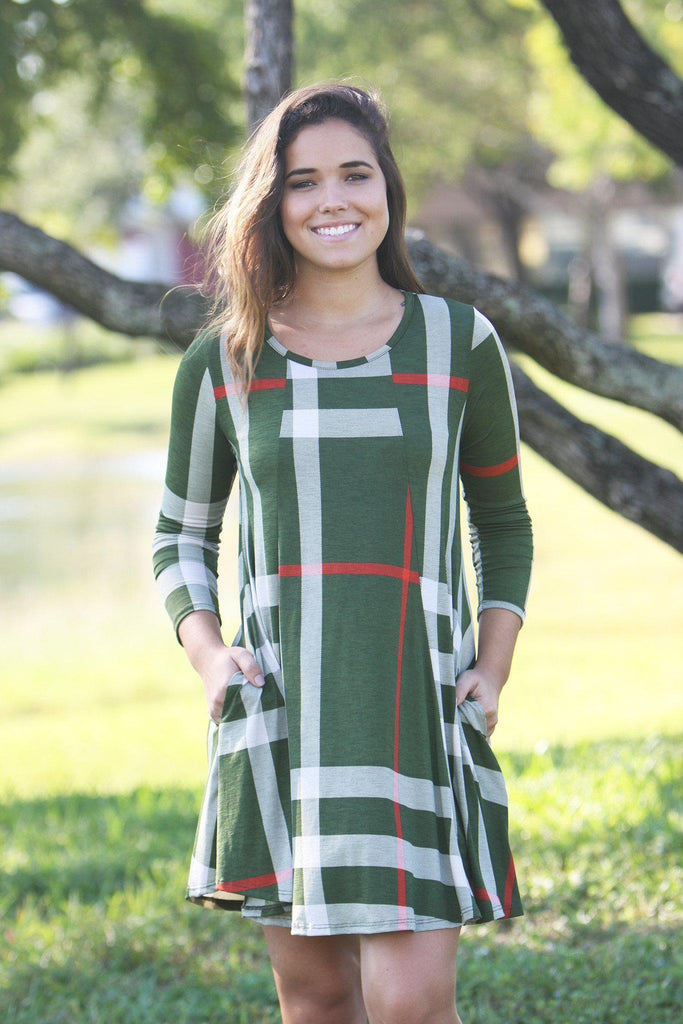 olive check print short dress with 3/4 sleeves