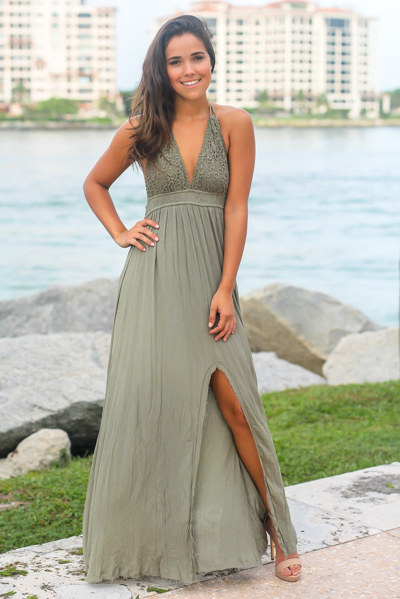 Olive Crochet Halter Neck Maxi Dress