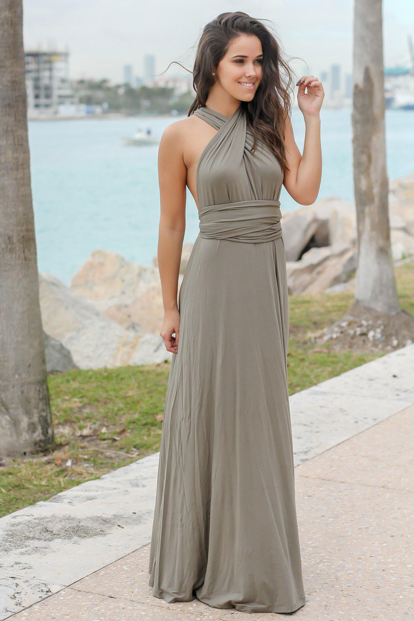 Olive Tie Maxi Dress With Open Back Maxi Dresses Saved By The Dress