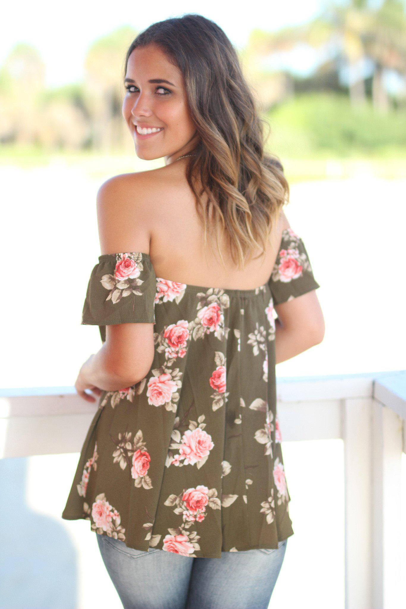 Olive Floral Off Shoulder Top
