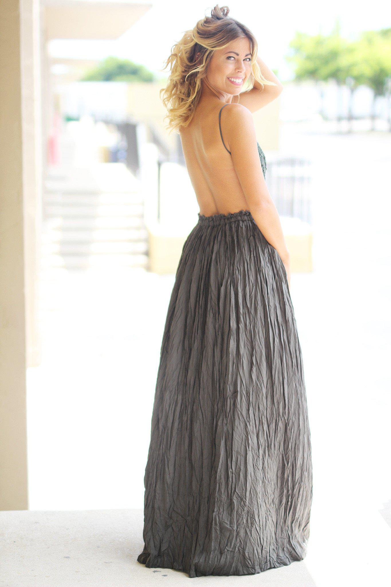 Olive Crochet Maxi Dress with Open Back
