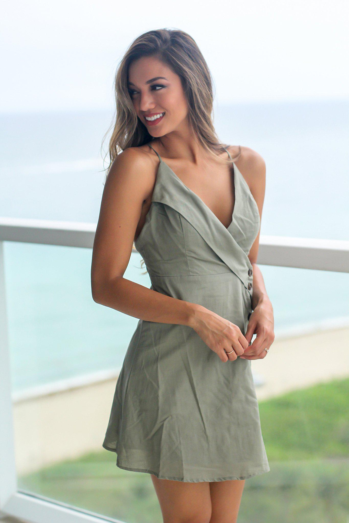 Olive Green Short Dress with Side Buttons