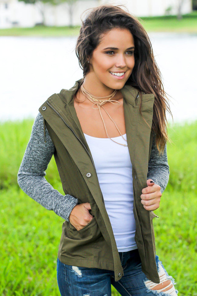 Olive Jacket with Gray Hood and Sleeves