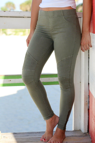 Olive Moto Jeggings with Ankle Zippers