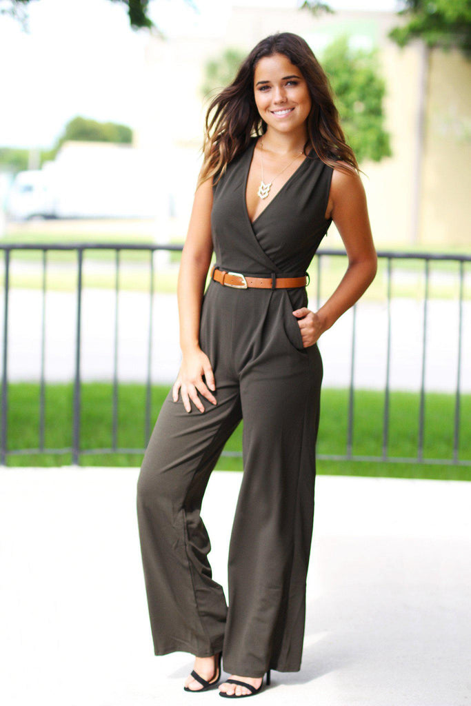 Olive Jumpsuit with Belt