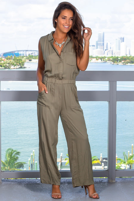 Olive Jumpsuit with Buttons