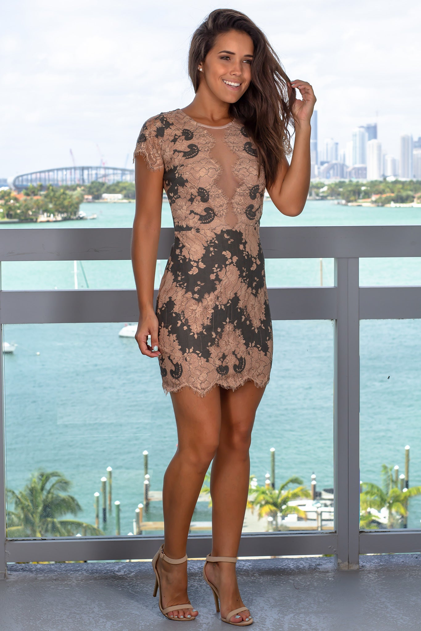 Olive Lace Short Dress