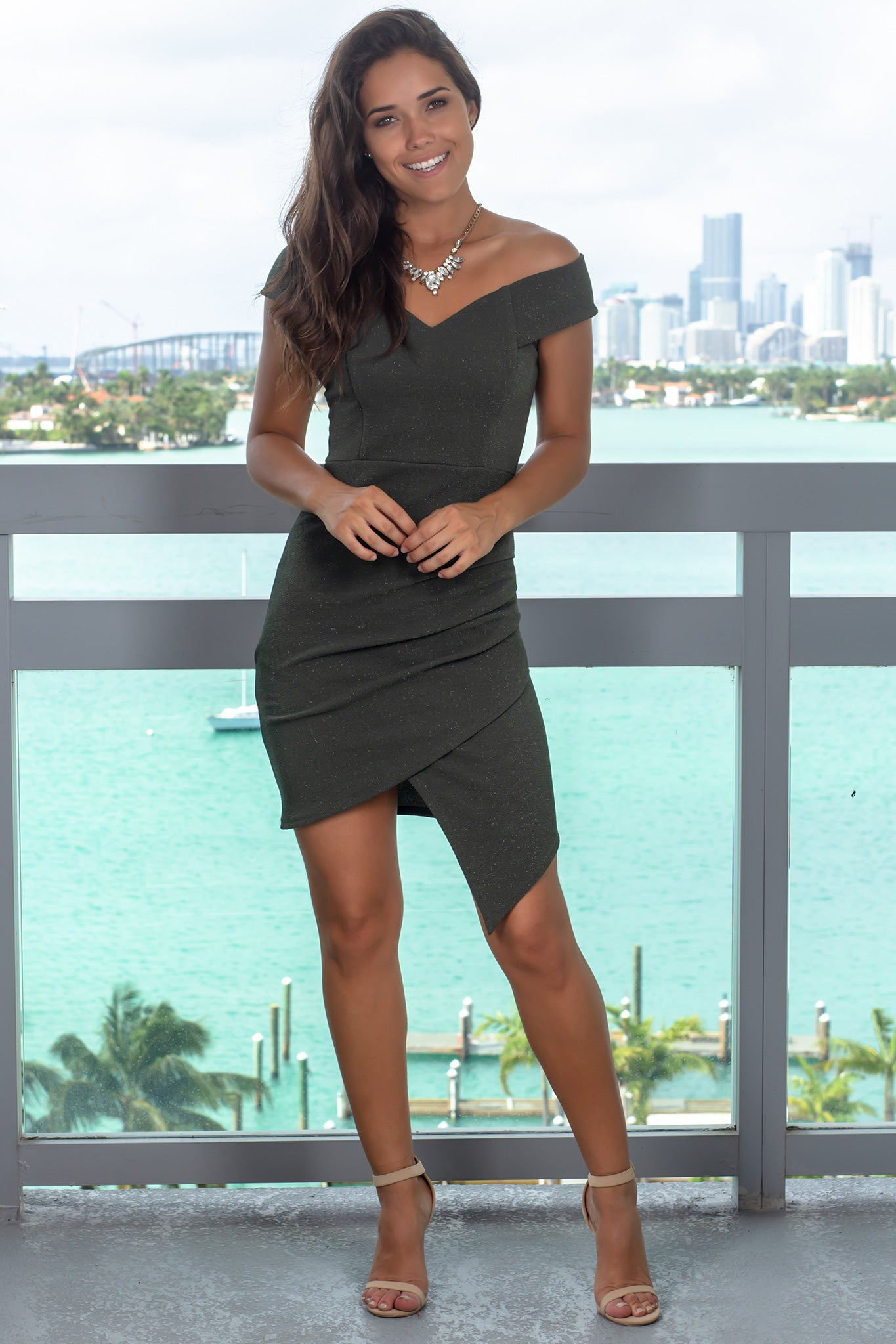 Olive Off Shoulder Short Dress with Ruched Side