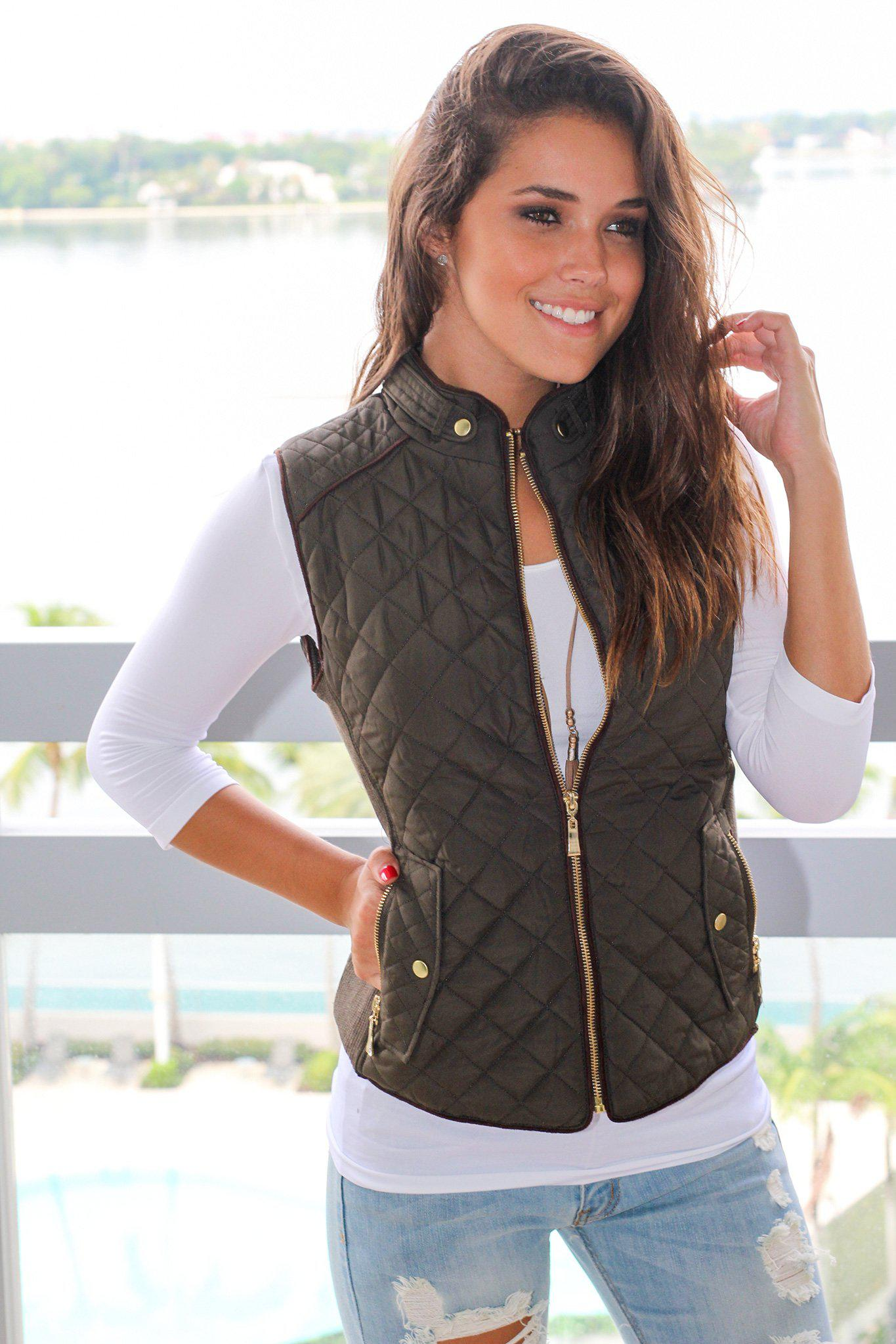 Olive Quilted Vest With Pockets