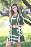 olive 3/4 sleeves dress