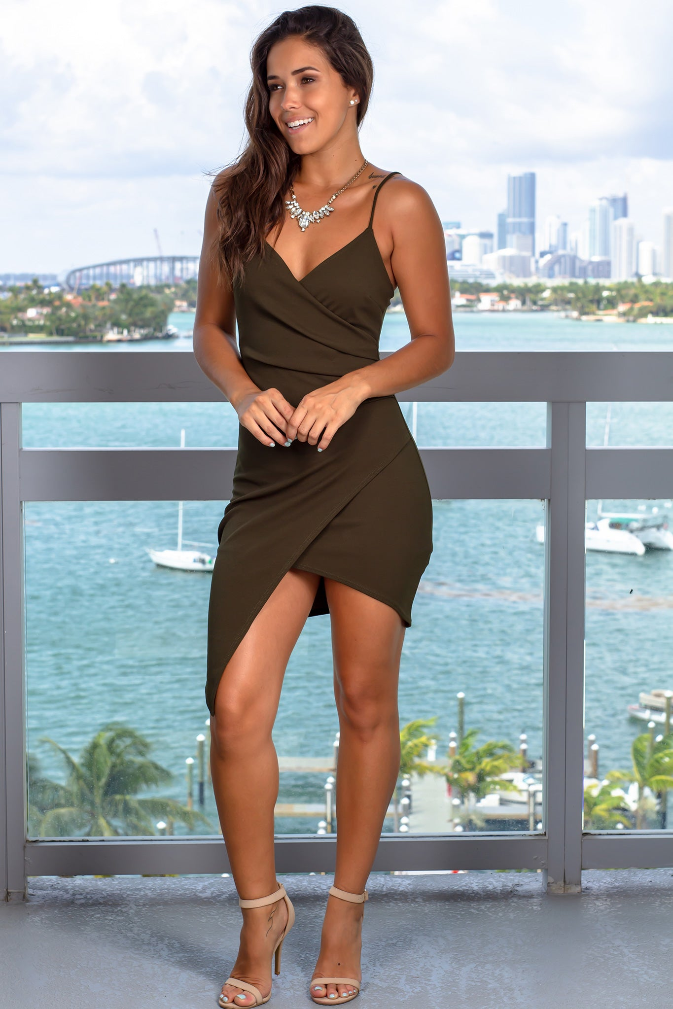 Olive Short Dress with Ruched Side