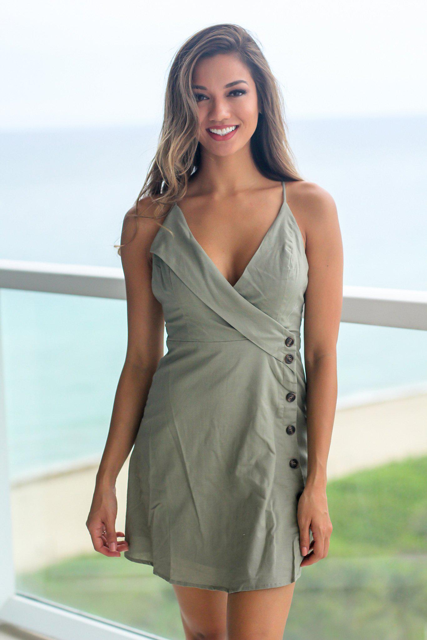 Olive Short Dress with Side Buttons