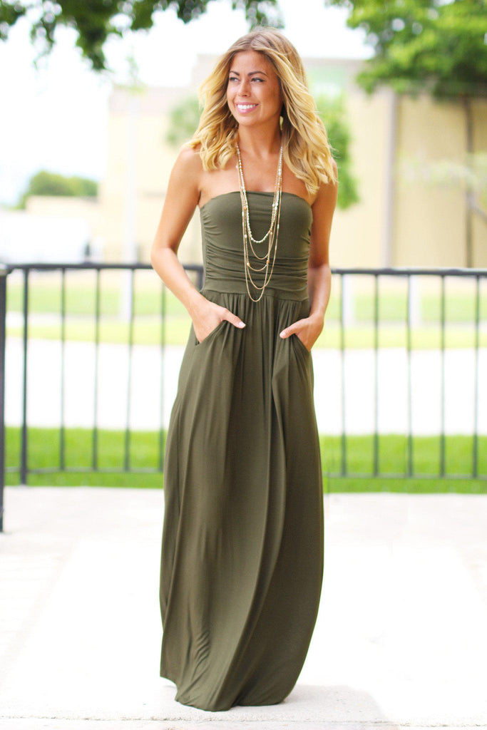 Olive Strapless Maxi Dress with Pockets