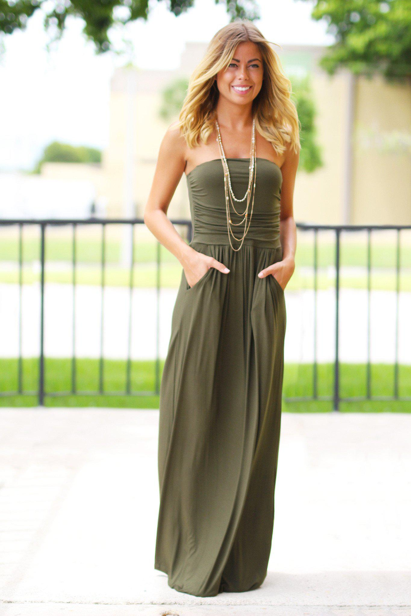 f98ecd14c69 Olive Strapless Maxi Dress with Pockets | Maxi Dresses – Saved by the Dress