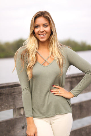 Olive Criss Cross Top with Long Sleeves