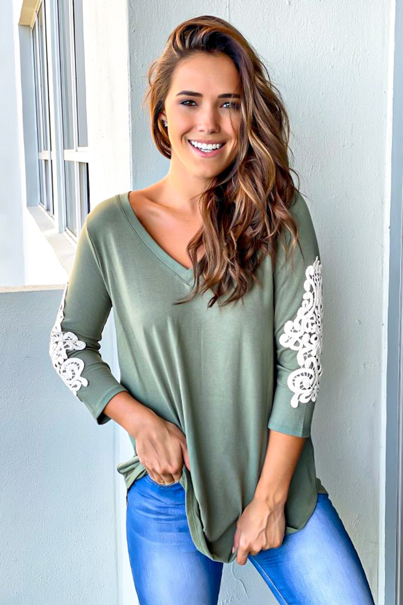 Olive Top with Embroidered Sleeves