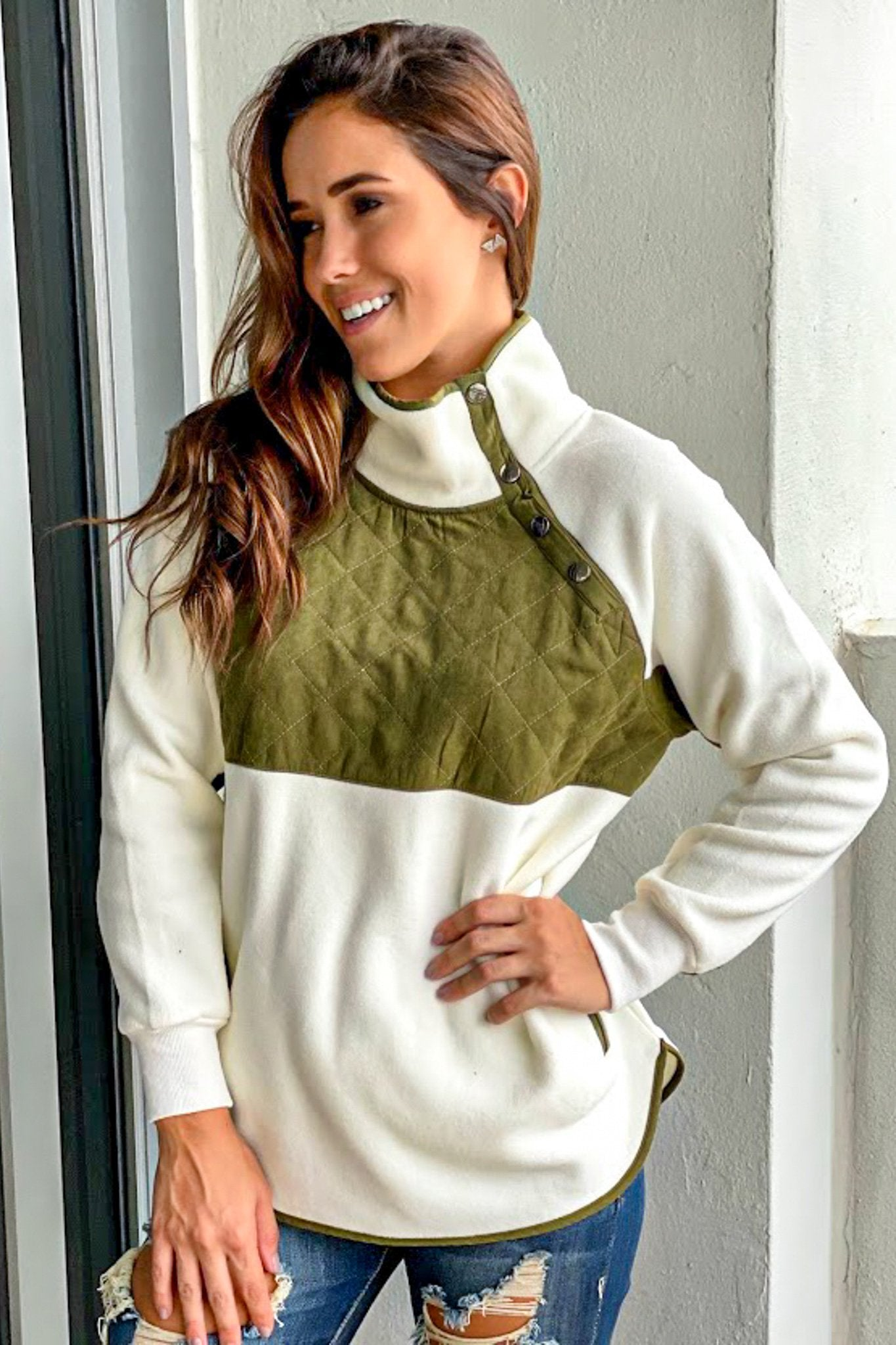 Olive and Ivory Pullover