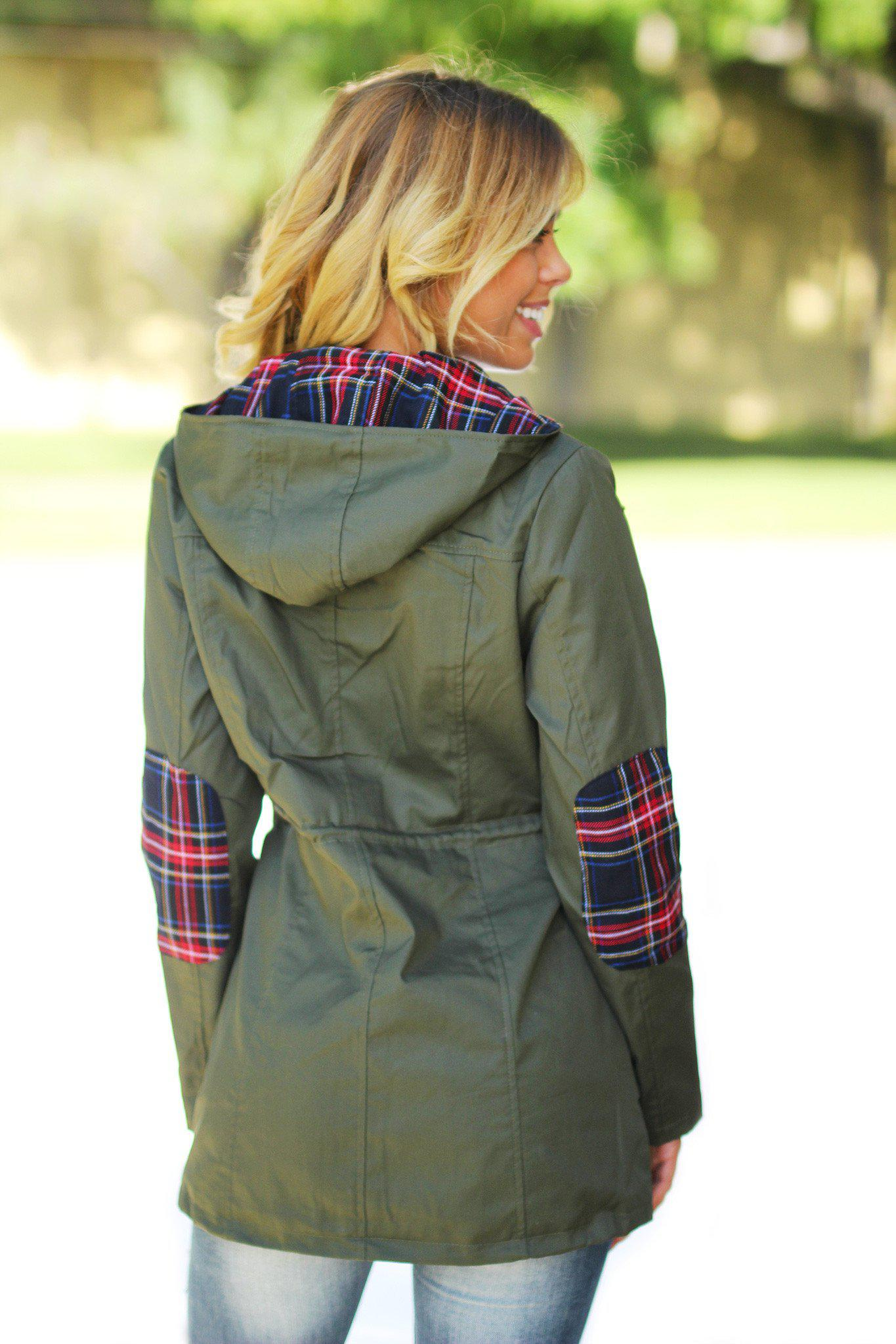 Olive and Plaid Jacket with Hood