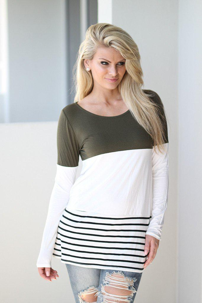 Olive and White Color Block Top