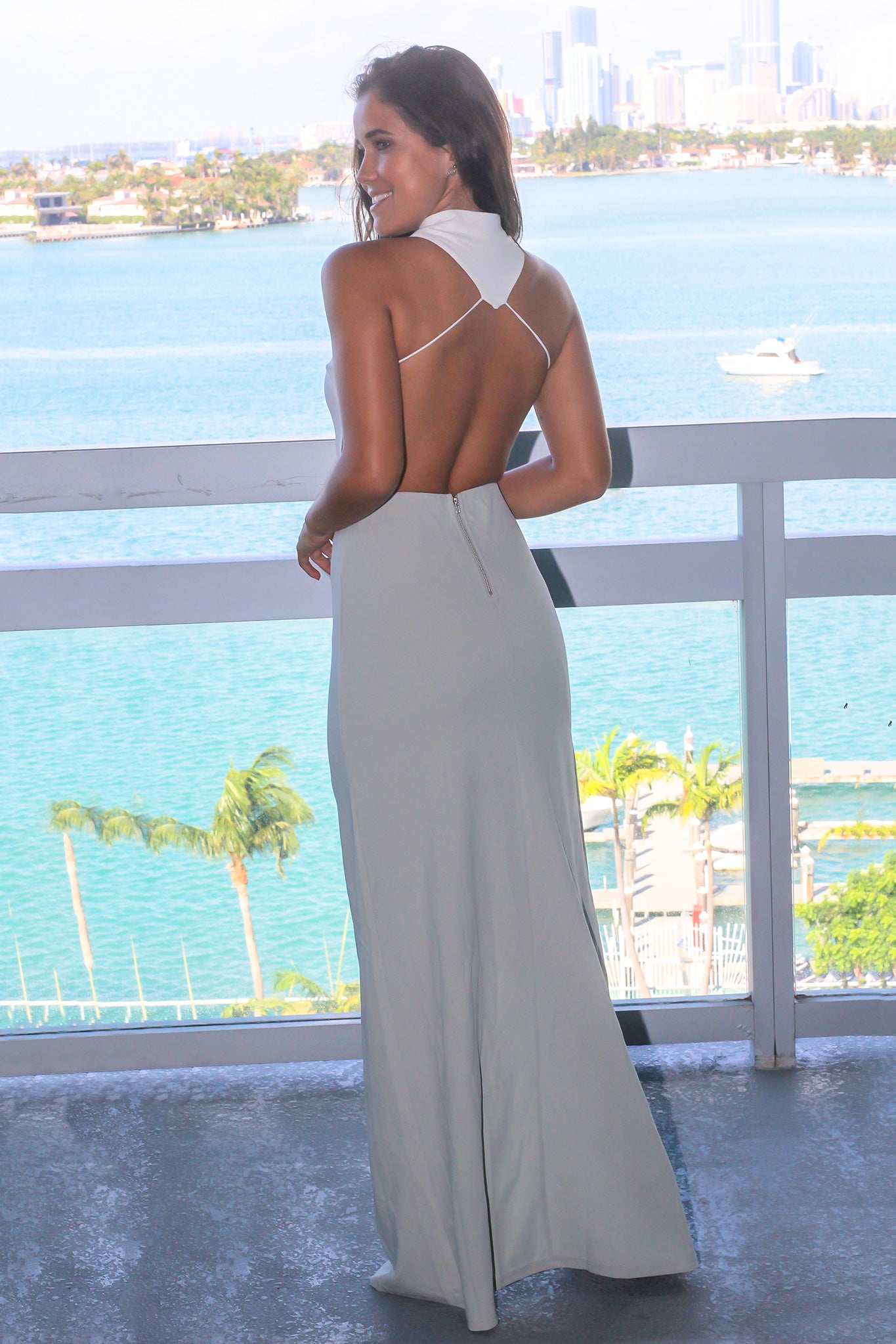 Olive and White Maxi Dress with Open Back