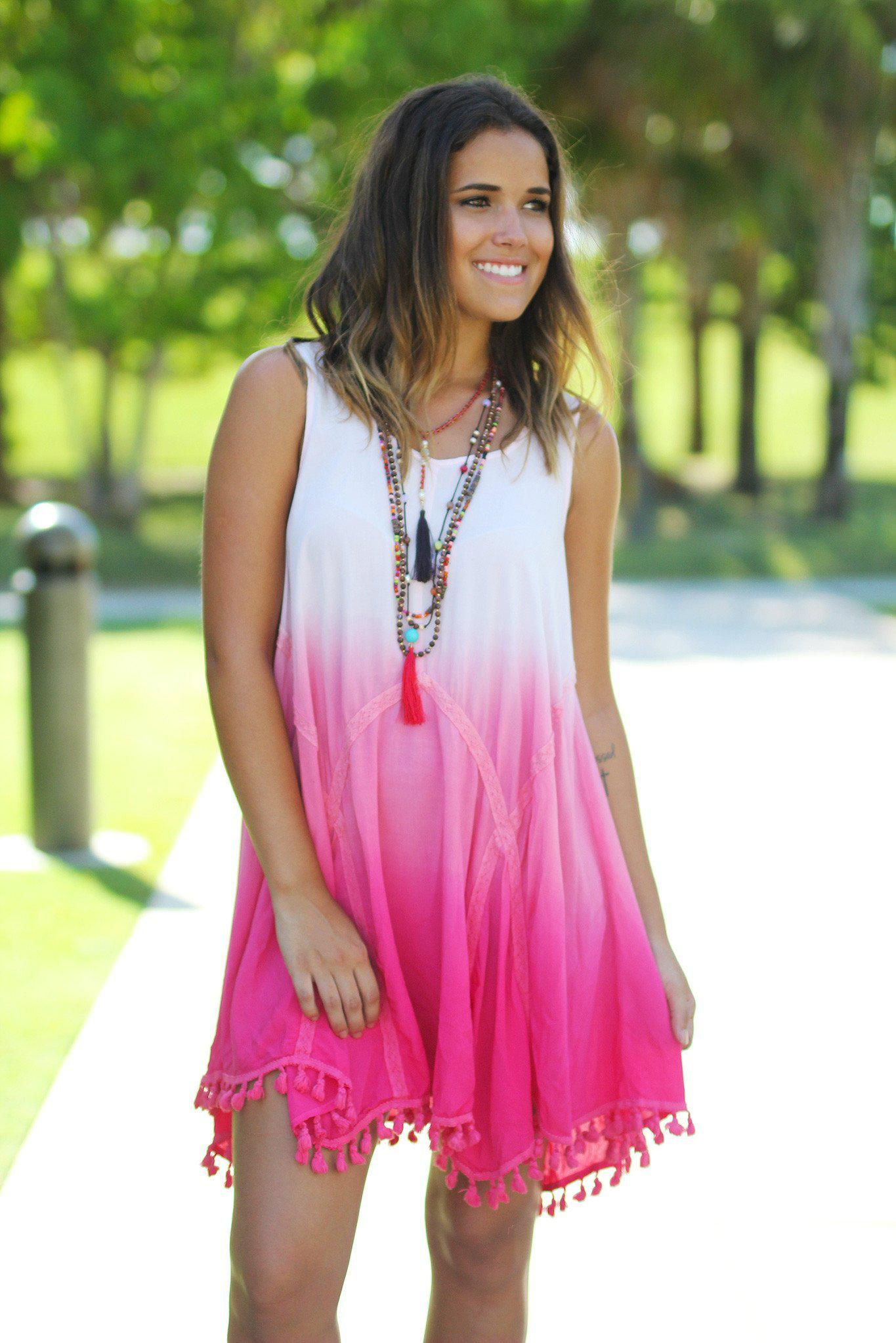 Pink Ombre Short Dress with Tassels