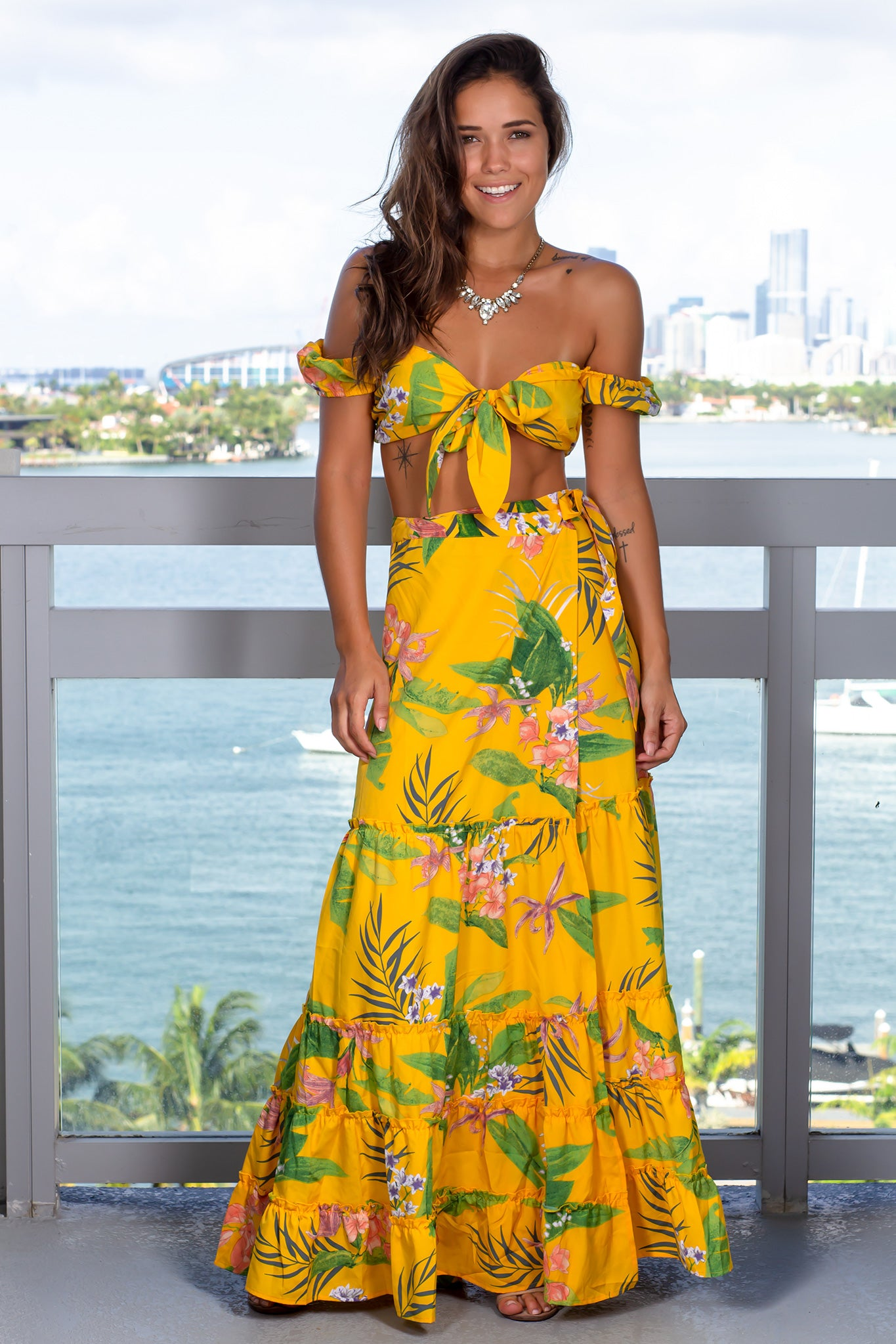 Yellow Printed Two Piece Skirt Set