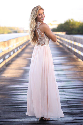 Blush Lace Maxi Dress with Sequined Top