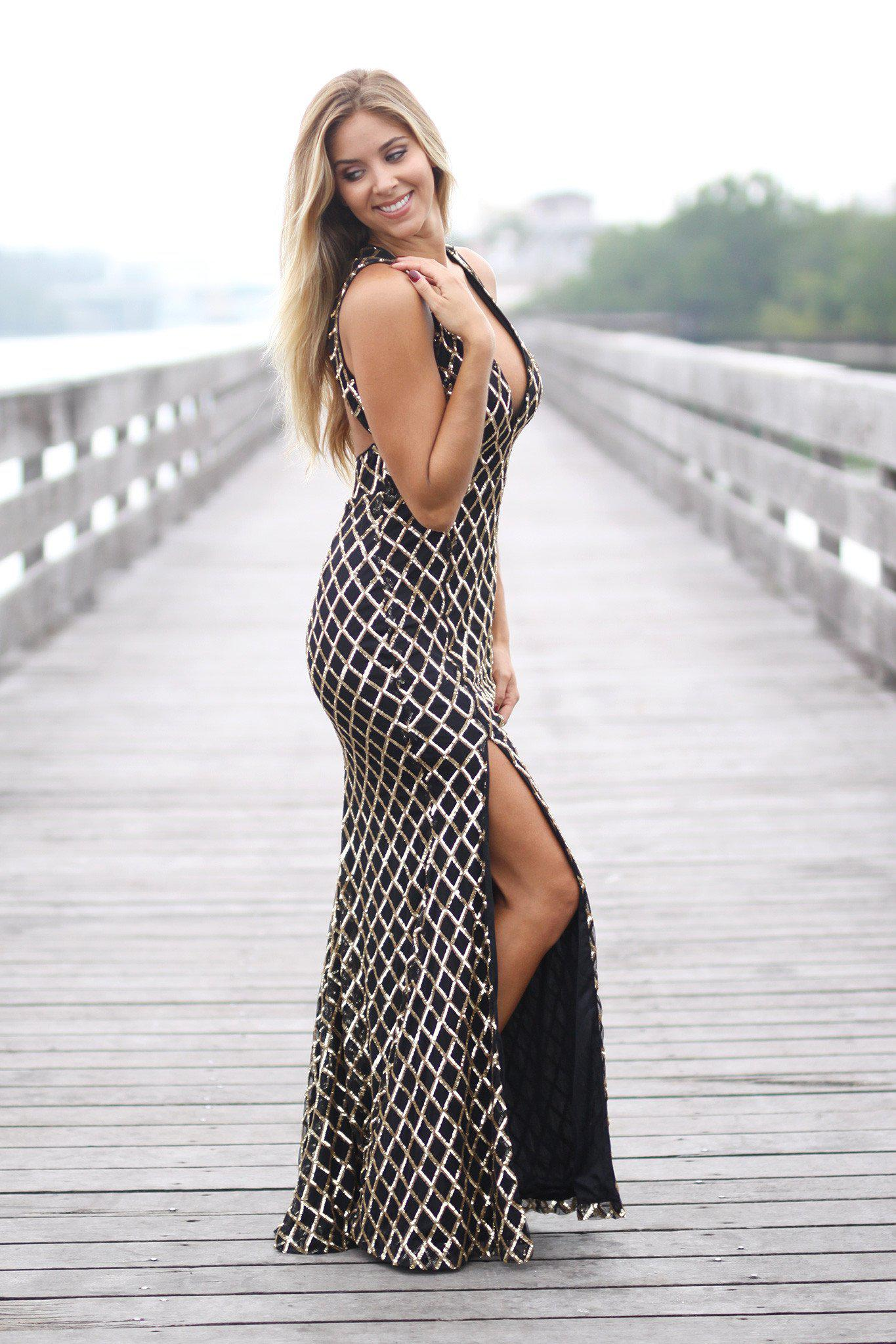 521e62828c2c4 Rose Gold Sequined Maxi Dress with Open Back and Side Slit