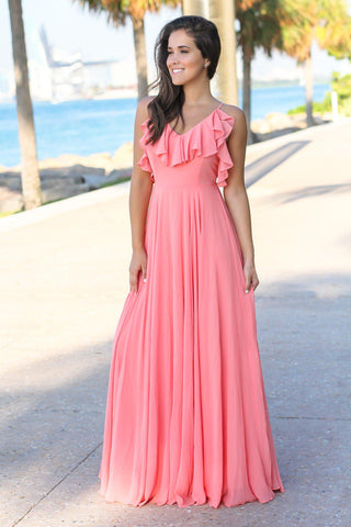 Peach Ruffled Maxi Dress with Criss Cross Back