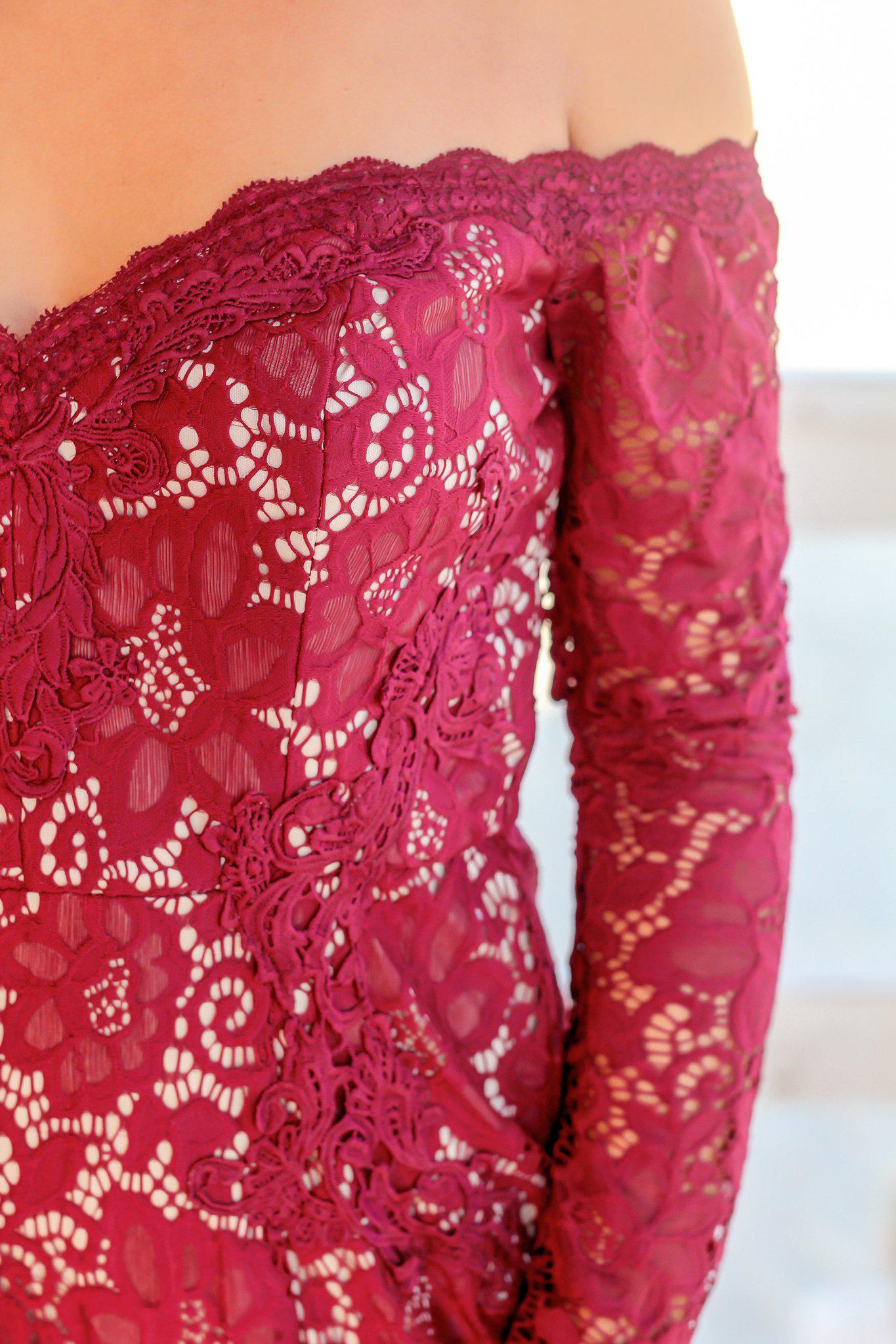 Burgundy Lace Off Shoulder Short Dress with Long Sleeves