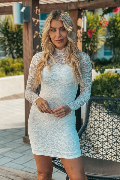 White Laced Short Dress with 3/4 Sleeves