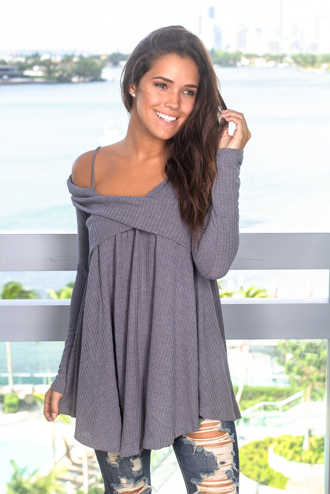 Charcoal Knit Off Shoulder Tunic