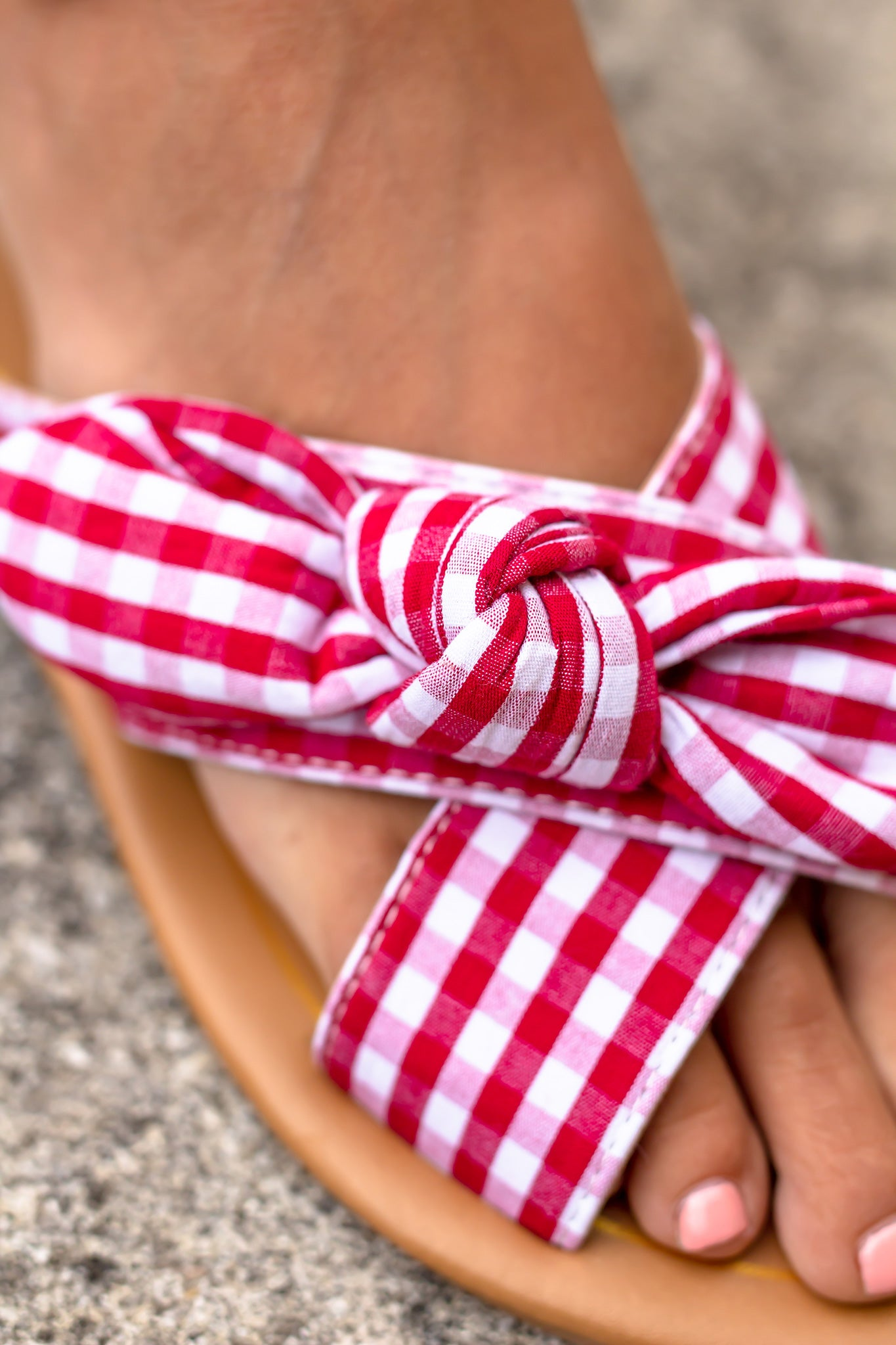Red Gingham Sandals